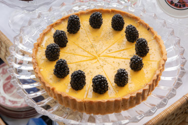 Lemon tart from the dessert trolley at Attica Summer Camp.