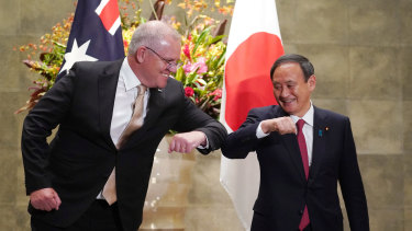 Scott Morrison on a state visit to Japan in 2020