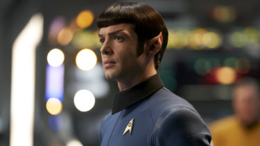 Mr Spock (Ethan Peck) on the bridge of the USS Enterprise.