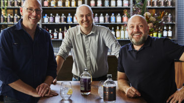 Four Pillars Gin founders Cameron Mackenzie, Matt Jones and Stuart Gregor.