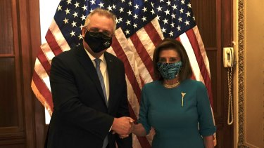 Scott Morrison, Australia's prime minister, meeting with U.S. House Speaker Nancy Pelosi, a Democrat from California, during a meeting at the U.S. Capitol in Washington, D.C.
