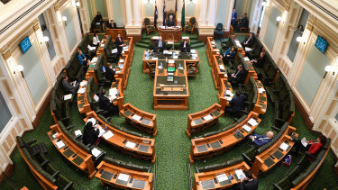 Queensland Premier Annastacia Palaszczuk addresses a reduced chamber in April due to social distancing measures.