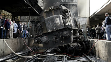 A railcar has rammed into a barrier inside Ramses station, causing an explosion of the fuel tank and triggering a huge blaze.