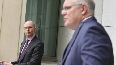 Chief Medical Officer Professor Paul Kelly and Prime Minister Scott Morrison during a press conference  in Canberra on December 21.
