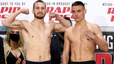 Tim Tszyu weighs in alongside Steve Spark in Newcastle on Tuesday.