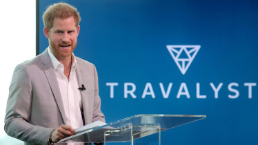 Prince Harry announcing a partnership between Booking.com, SkyScanner, CTrip, TripAdvisor and Visa called 'Travalyst' at A'dam Tower in Amsterdam on Tuesday.