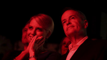 Chloe and Bill Shorten at a launch for Labor's arts policy in Melbourne.