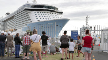 People gathered at the port of Tauranga to see off the Ovation of the Seas cruise ship on Wednesday morning.