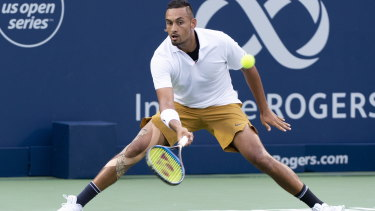 The enigma: Kyrgios returns to Kyle Edmund of Britain in the first round of the Canadian Open.