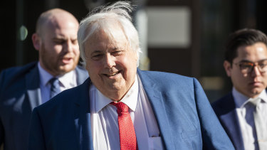 Businessman Clive Palmer arrives at the Supreme Court following a lunch break in Brisbane on Monday.