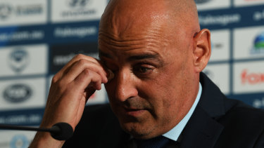 Kevin Muscat gets emotional during his press conference confirming his departure as Melbourne Victory coach.