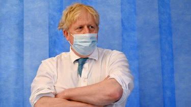 On the defence: Prime Minister Boris Johnson visits a hospital on Thursday.