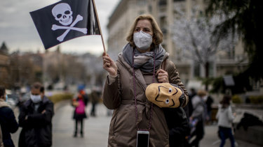 An anti-euthanasia protester in front of the Spanish Parliament in Madrid.