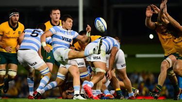 Argentina's Gonzalo Bertranou kicks from the ruck.