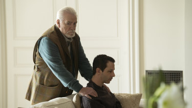 The prodigal son: A humbled Kendall is much more to the liking of Logan Roy (Brian Cox) than an expectant one.