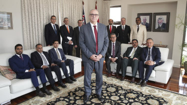 The head of the General Delegation of Palestine to Australia, Izzat Salah Abdulhadi, meets with ambassadors and senior diplomats from the Council of Arab Ambassadors in Canberra on Tuesday.