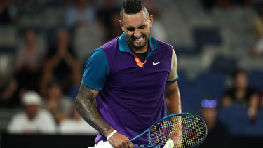 A moment of frustration for Nick Kyrgios during his second round match.