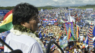 A handout photo released by the government-run Bolivian Information Agency of Evo Morales