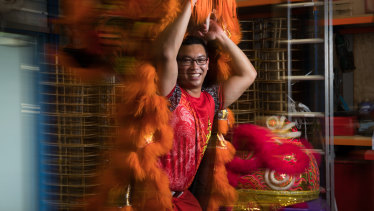 Lion dancer Johnny Leung in his rehearsal space in Kingsgrove, Sydney, ahead of the Lunar New Year.