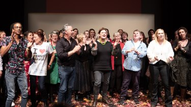 The Hello, Healesville! finale, with Hannie Rayson centre stage at the memorial hall.