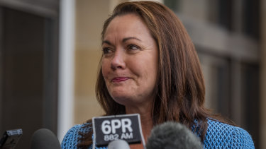 Liza Harvey speaks to the media outside Parliament House in Perth on Thursday.
