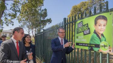 NSW Labor leader Michael Daley outside Dalmeny Public School in south-west Sydney.