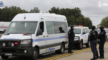A heavy police convoy escorted Sam Ibrahim to a waiting charter flight.