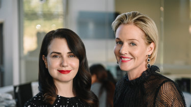 Penelope Ann Miller (right) with Mia Kirshner in the Lifetime drama The College Admissions Scandal.