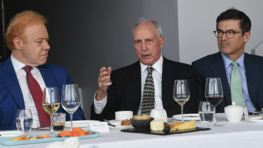 From left: Anthony Pratt, executive chairman, Visy; the Honourable Paul Keating, former prime minister of Australia; John Wylie, founder and principal, Tanarra Group.