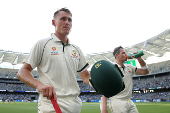 Marnus  Labuschagne, left, and Steve Smith leave the pitch during day one of the first Test.