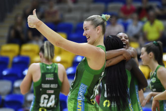 Fever's Courtney Bruce enjoys the win over the Swifts.