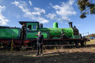 Joe Kellett, seen here with locomotive number Y112, says his group has not been told what the plans for the workshop are.
