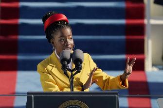 American poet Amanda Gorman recites The Hill We Climb during the Inauguration of US President Joe Biden.