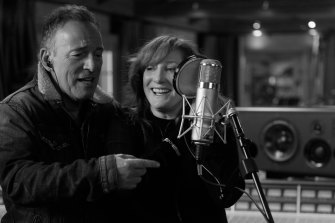 With wife Patti Scialfa in the new documentary, Letter to You.