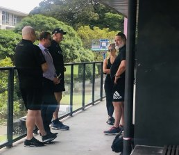 Russell Crowe catches up with Wayne Bennett and Souths officials on Monday.