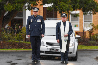 Chief Commissioner Graham Ashton at the funeral of Constable Glen Humphris.