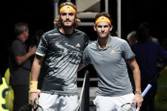 Surprise package: Stefanos Tsitsipas, left, and Dominic Thiem, right, in London.