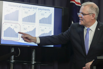 Then treasurer Scott Morrison explains changes to the GST distribution system in 2018.