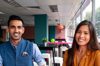 Erika Katalbas and Abhishek Singh at the new International Student Hub.