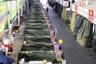 Noodle stands inside a traditional market are idle in Daegu, South Korea, amid the coronavirus outbreak.