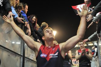 Brad Green after his last game for Melbourne in 2012.