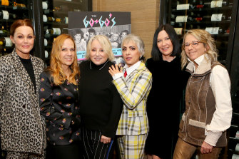 Belinda Carlisle, Charlotte Caffey, Gina Shock, Jane Wiedlin and Kathy Valentine with The Go-Go's director Alison Ellwood at Sundance, where the film debuted in January.
