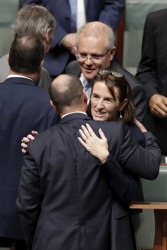 Celia Hammond (here being congratulated after her maiden speech in 2019 by Treasurer Josh Frydenberg and Prime Minister Scott Morrison) has ties to all three main groupings.