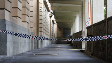 The Brisbane CBD laneway where a homeless man was run over by a rubbish truck.