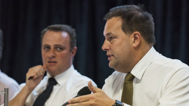 Liberal MPs Tim Wilson and Jason Falinski at the parliamentary inquiry into franking credits in Bondi.