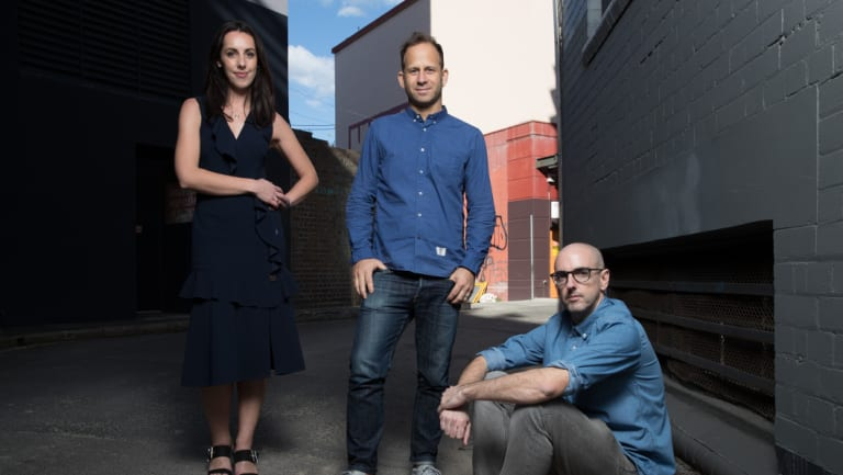 Zuper co-founders (L-R) Jessica Ellerm, Eran Thomson and Jon Holloway, in Surry Hills.