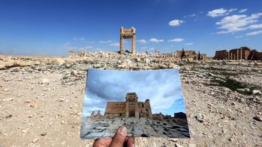 Palmyra's Temple of Bel in March 2014, and the same view two years later.