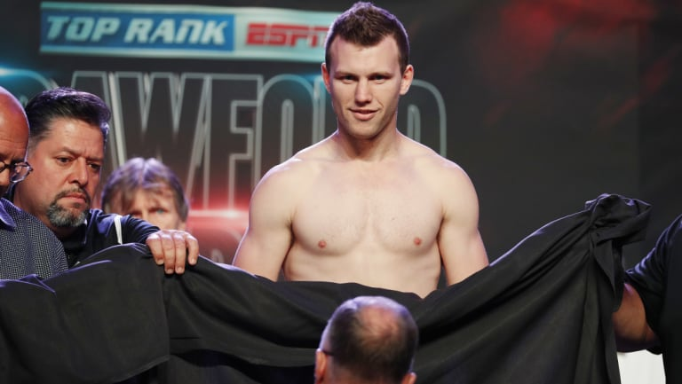 Modesty: A sheet had to cover up Horn after he was forced to take off his underwear while trying to make weight.
