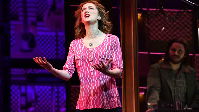 Esther Hannaford (Carole King) performs at QPAC ahead of the musical's Queensland premiere on Thursday.