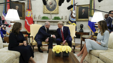 Jenny and Scott Morrison meet with US President Donald Trump and First Lady Melania Trump in the Oval Office.